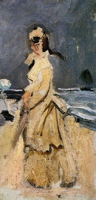 Camille on the Beach. Claude Oscar Monet