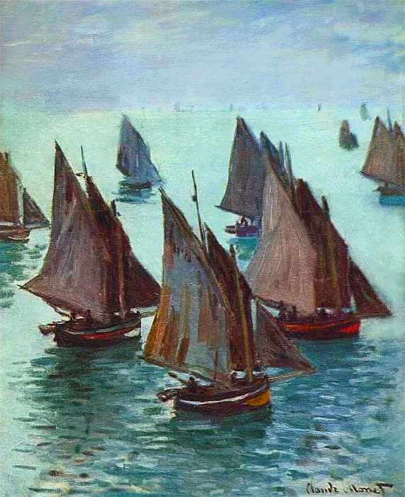 Fishing Boats, Calm Sea. Claude Oscar Monet