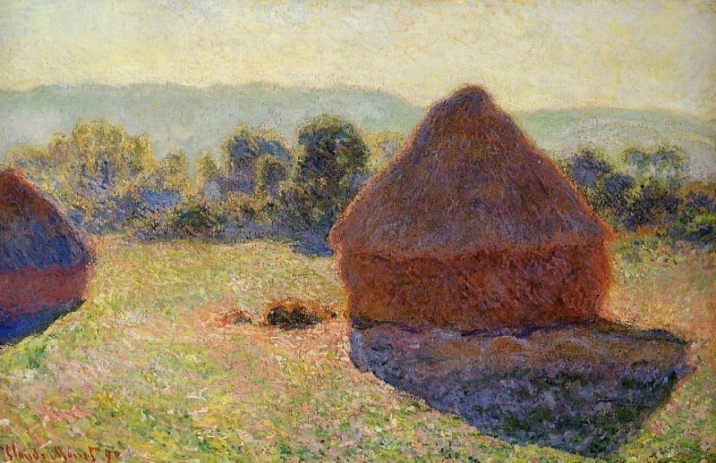 Grainstacks in the Sunlight, Midday. Claude Oscar Monet