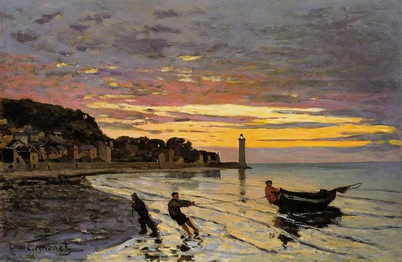 Hauling a Boat Ashore, Honfleur. Claude Oscar Monet