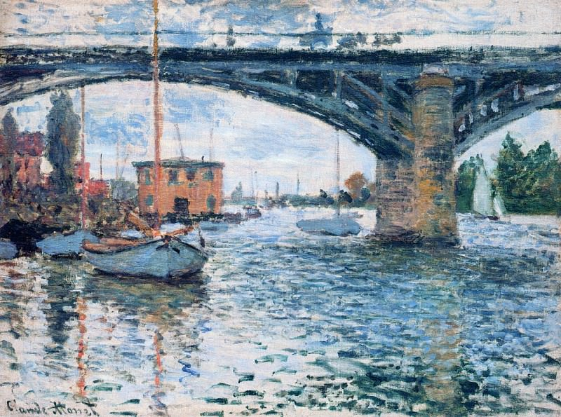 The Bridge at Argenteuil, Grey Weather. Claude Oscar Monet