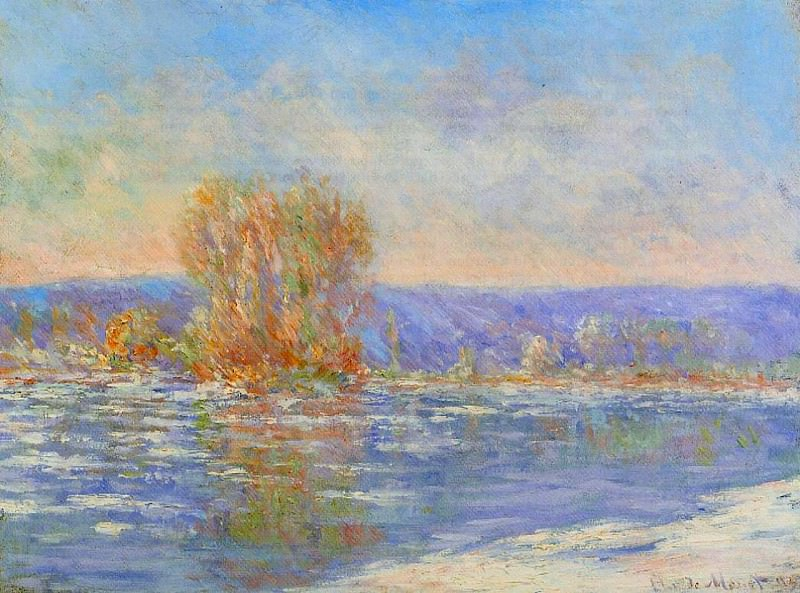 Floating Ice near Bennecourt. Claude Oscar Monet