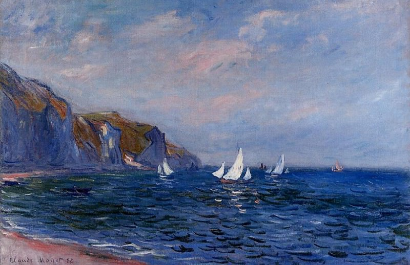 Cliffs and Sailboats at Pourville. Claude Oscar Monet