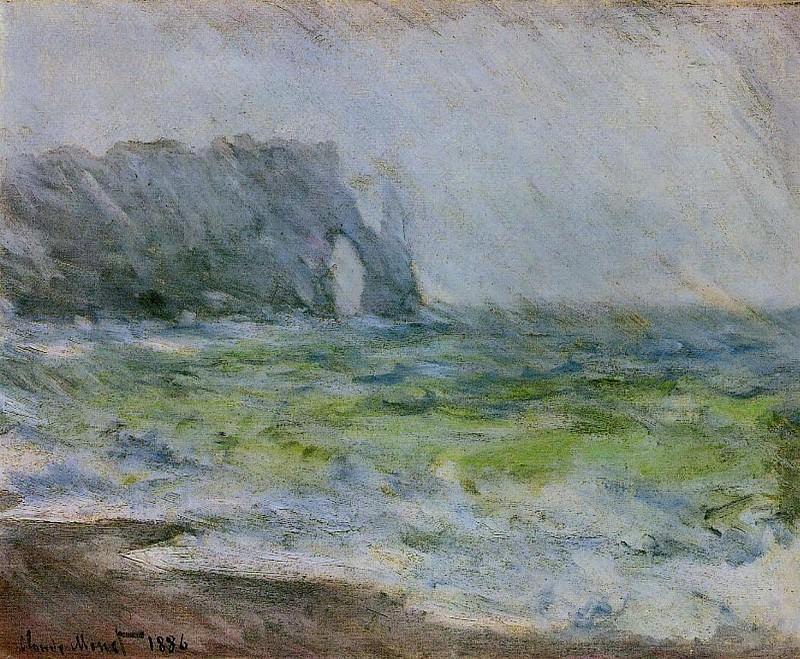 The Manneport, Etretat in the Rain. Claude Oscar Monet