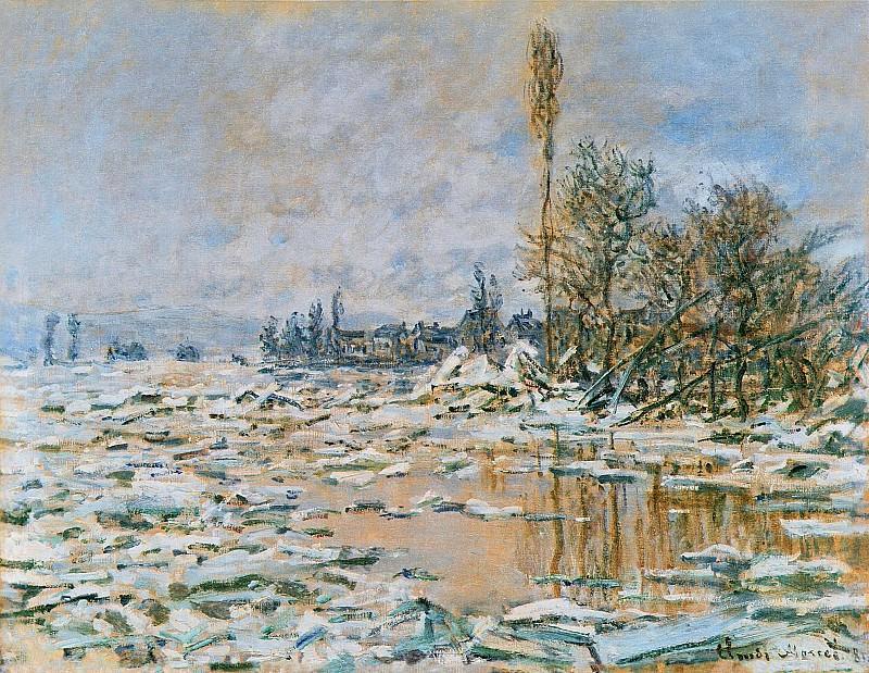 Breakup of Ice, Lavacourt, Grey Weather. Клод Оскар Моне