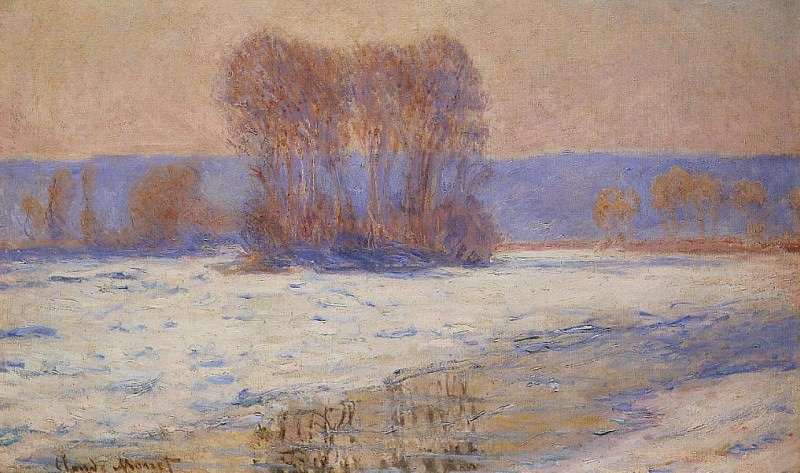 The Seine at Bennecourt in Winter. Claude Oscar Monet