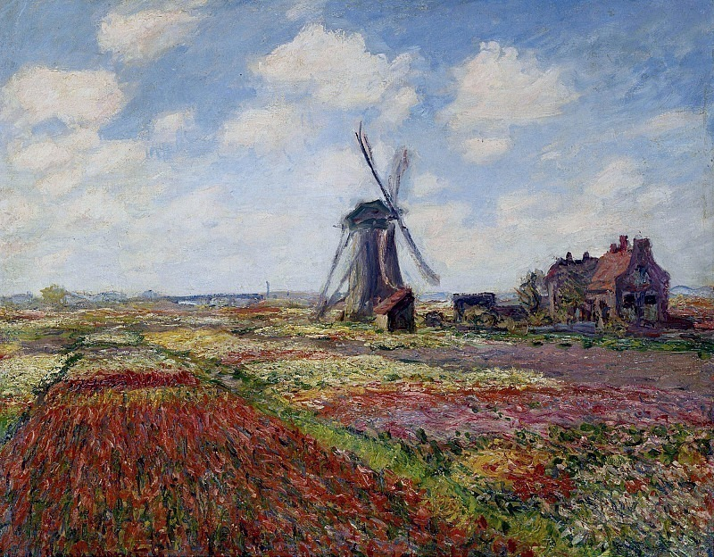 Fields of Tulip With The Rijnsburg Windmill. Claude Oscar Monet