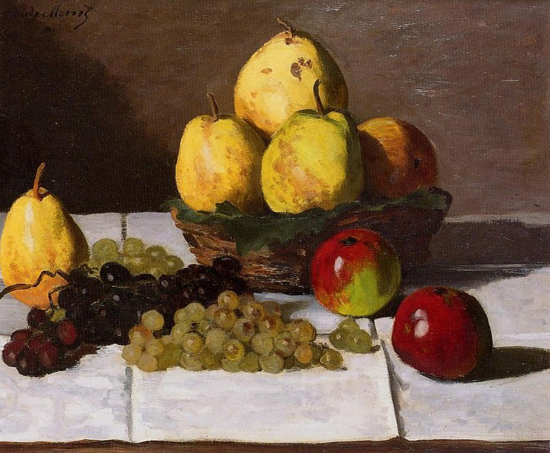 Still Life with Pears and Grapes. Claude Oscar Monet