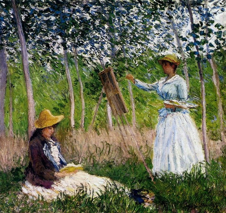 In The Woods At Giverny Blanche Hoschede Monet At Her Easel With Suzzanne Hoschede Reading. Claude Oscar Monet