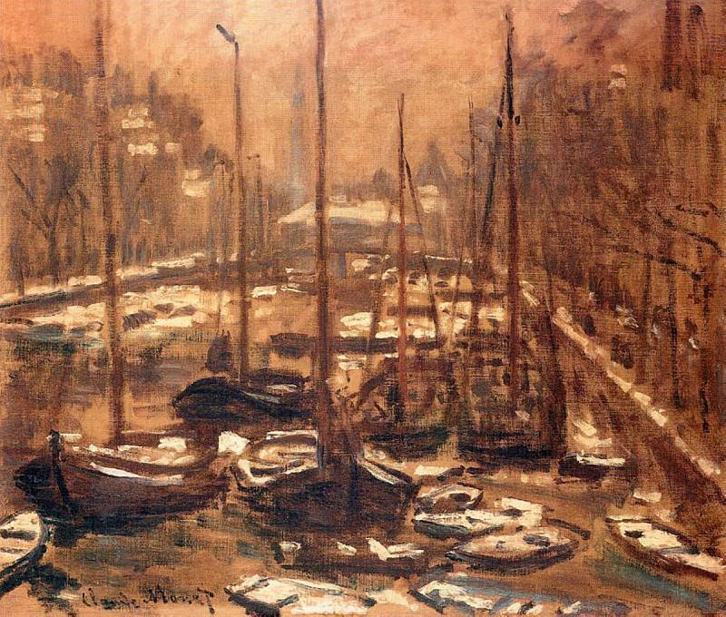 El Geldersekade de Amsterdam en Invierno. Claude Oscar Monet