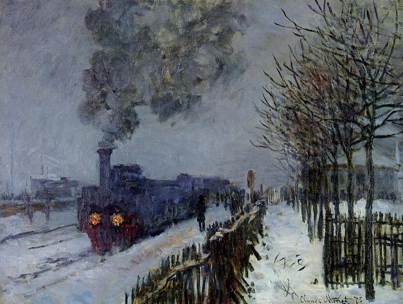 Train in the Snow, the Locomotive. Claude Oscar Monet