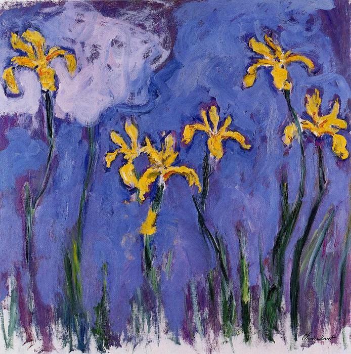 Yellow Irises with Pink Cloud. Клод Оскар Моне