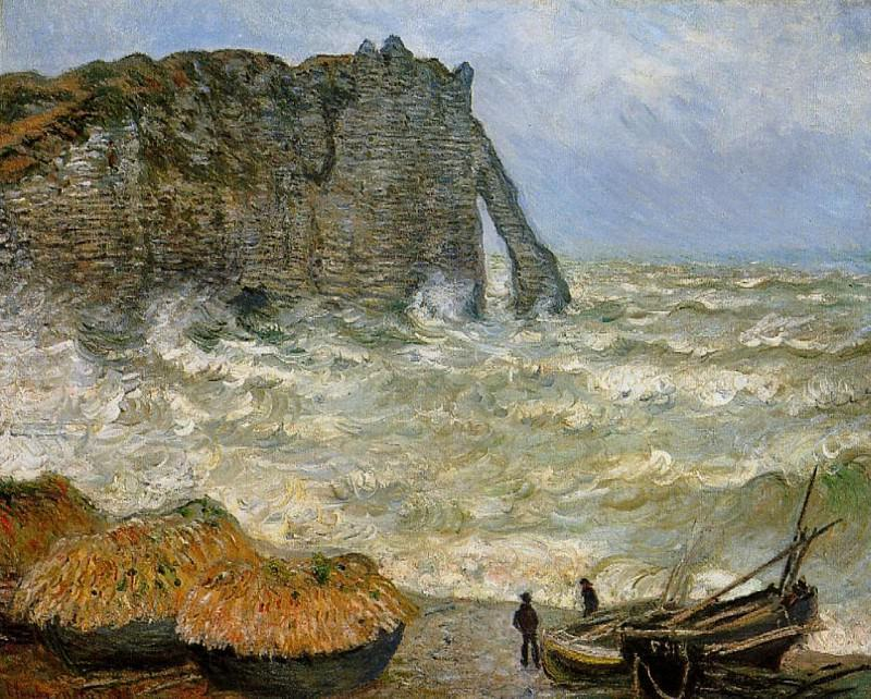 The Manneport, Etretat, Rough Sea. Claude Oscar Monet
