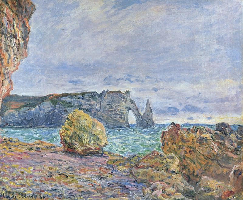 Etretat, the Beach and the Porte d'Aval. Claude Oscar Monet