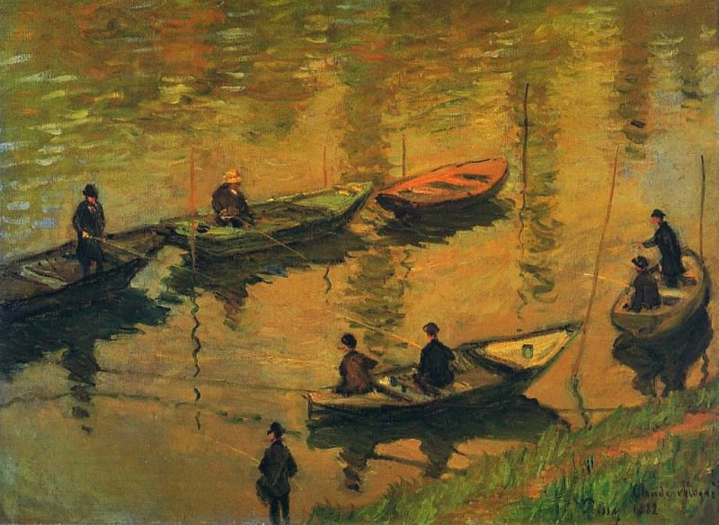 Anglers on the Seine at Poissy. Claude Oscar Monet
