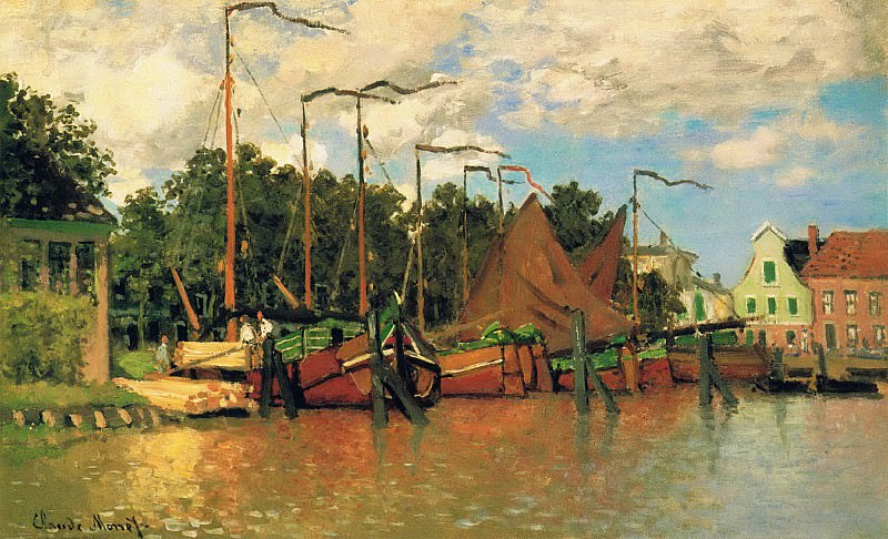 Boats at Zaandam. Claude Oscar Monet