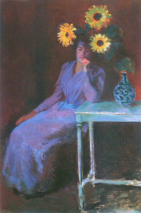 Portrait of Suzanne Hoschede with Sunflowers. Claude Oscar Monet