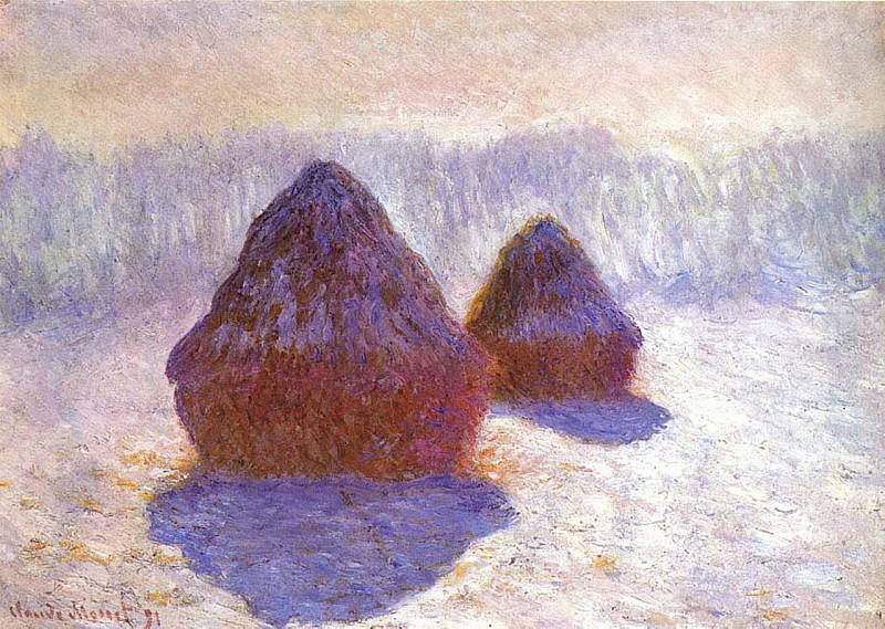 Grainstacks, White Frost Effect. Claude Oscar Monet