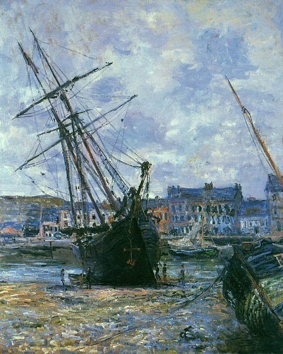 Boats Lying at Low Tide at Facamp. Claude Oscar Monet