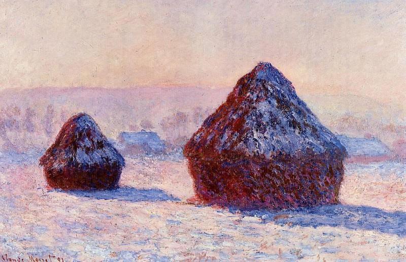 Grainstacks in the Morning, Snow Effect. Claude Oscar Monet