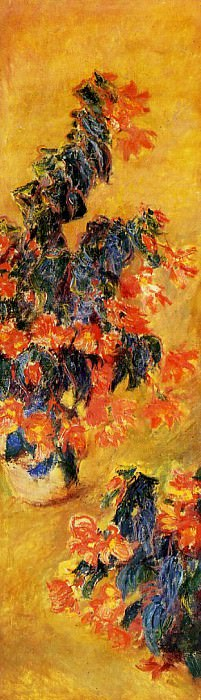 Red Azalias in a Pot. Claude Oscar Monet
