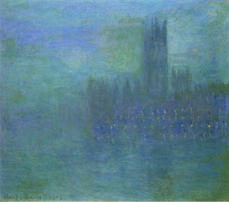 Houses of Parlilament, Fog Effect. Claude Oscar Monet