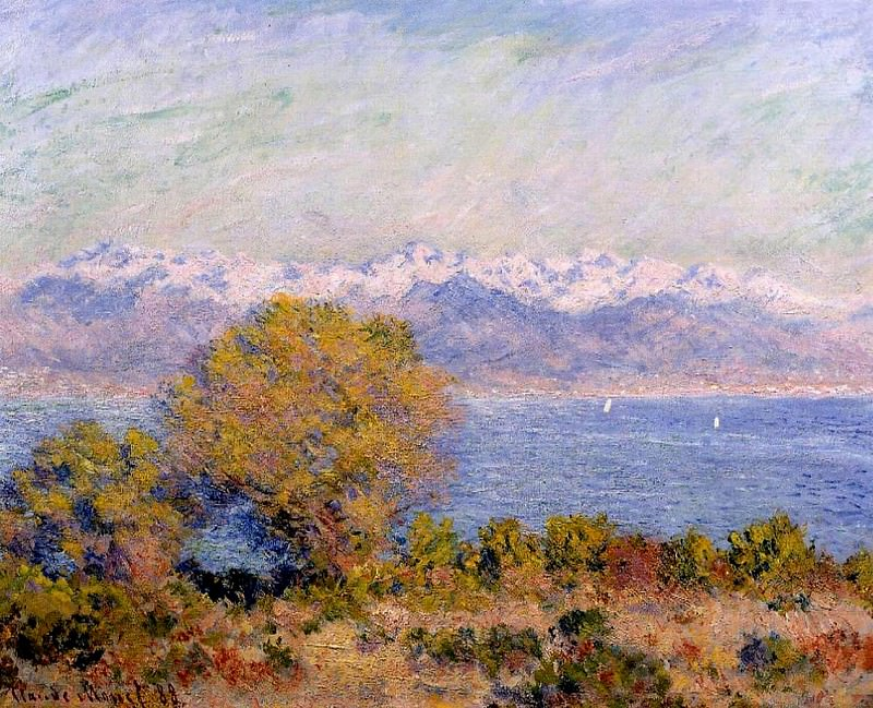 The Alps Seen from Cap d'Antibes. Claude Oscar Monet