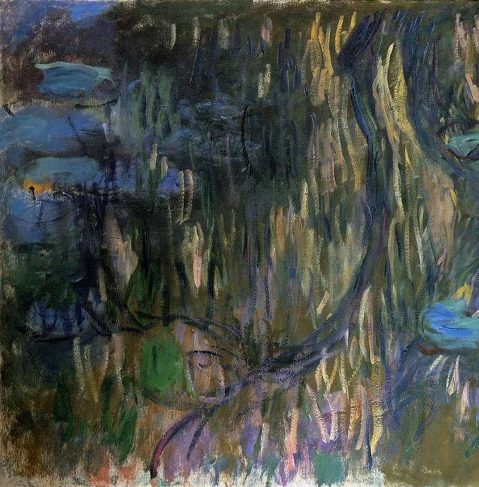 Water Lilies, Reflections of Weeping Willows (left half). Claude Oscar Monet