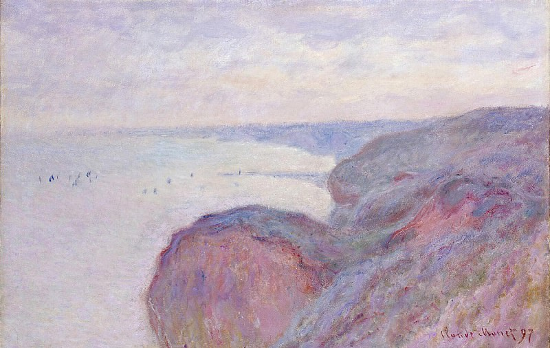 Cliff near Dieppe, Overcast Skies. Claude Oscar Monet