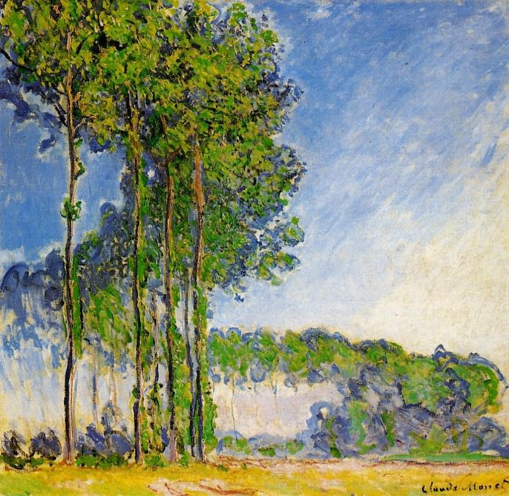 Poplars, View from the Marsh. Claude Oscar Monet