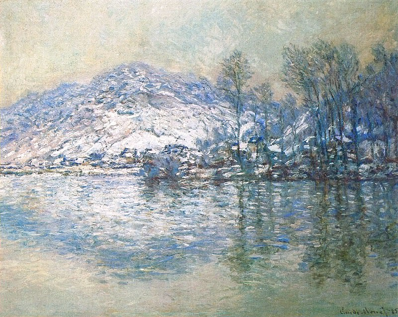 The Seine at Port Villez, Snow Effect. Claude Oscar Monet
