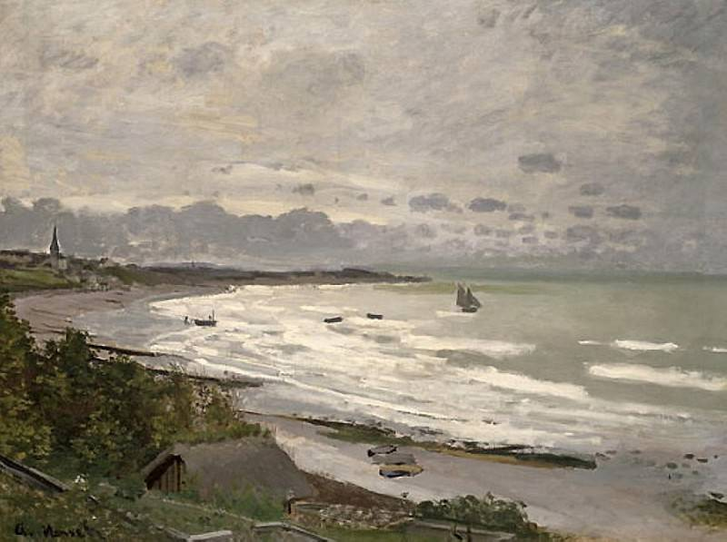 The Beach at Saint-Adresse. Claude Oscar Monet