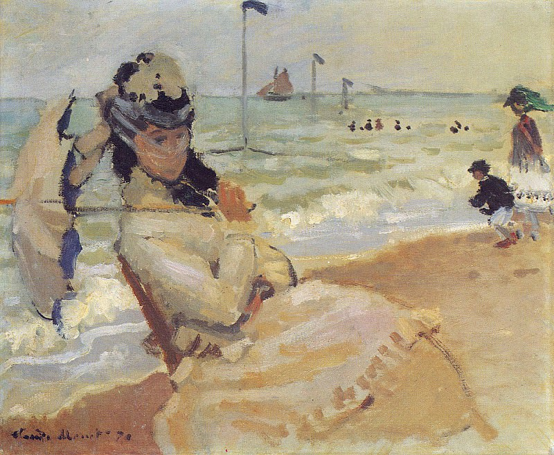 Camille on the Beach at Trouville. Claude Oscar Monet