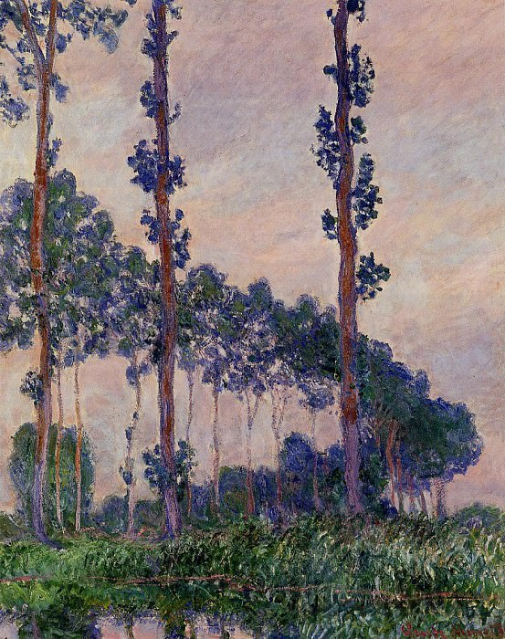 Three Trees in Grey Weather. Claude Oscar Monet