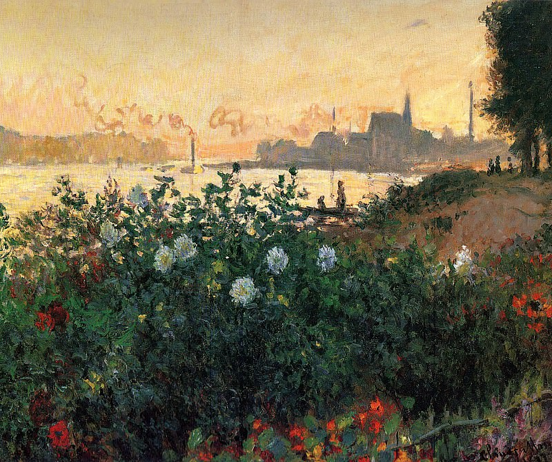 Argenteuil, Flowers by the Riverbank. Claude Oscar Monet