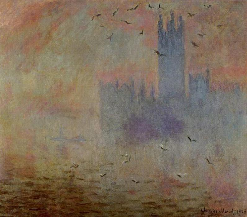 Houses of Parliament, Seagulls 2. Claude Oscar Monet