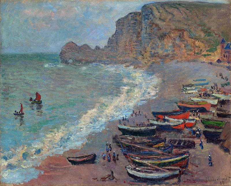 The Beach at Etretat. Claude Oscar Monet