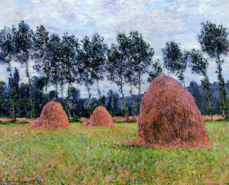 Haystacks, Overcast Day. Claude Oscar Monet