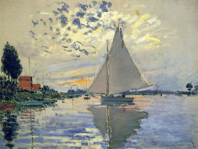 Sailboat at Le Petit Gennevilliers. Claude Oscar Monet