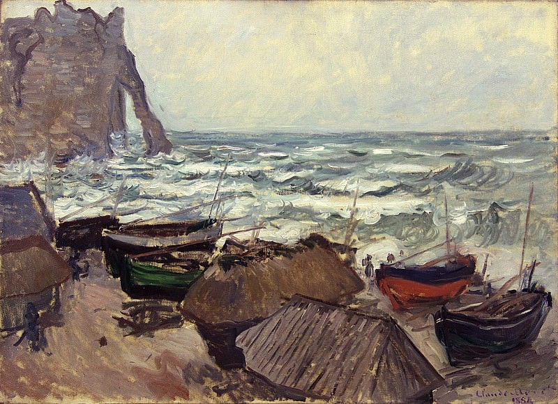 Fishing Boats on the Beach at Etretat. Claude Oscar Monet
