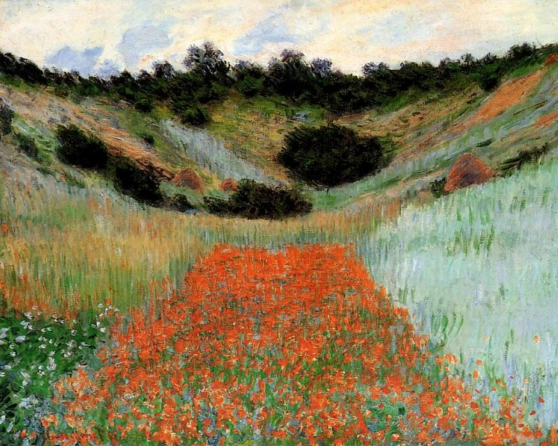 Poppy Field in a Hollow near Giverny. Claude Oscar Monet