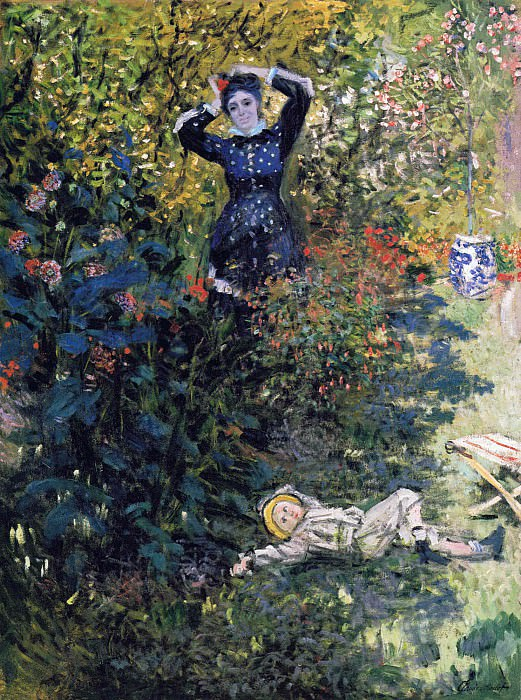 Camille and Jean Monet in the Garden at Argenteuil. Claude Oscar Monet