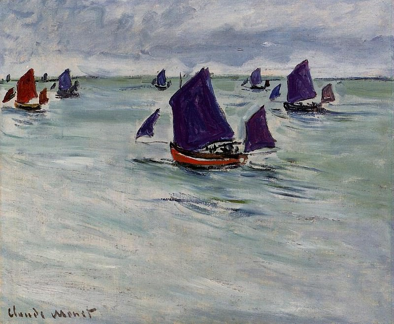 Fishing Boats off Pourville. Claude Oscar Monet
