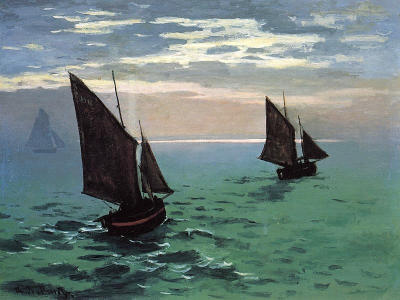 Fishing Boats at Sea. Claude Oscar Monet