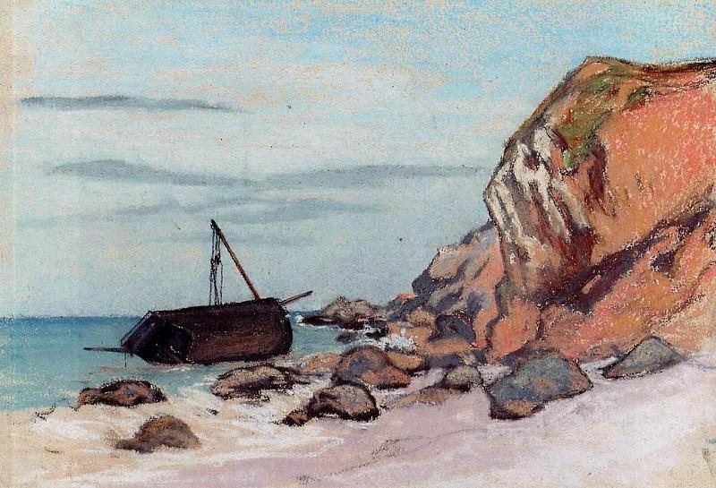 Saint-Adresse, Beached Sailboat. Claude Oscar Monet