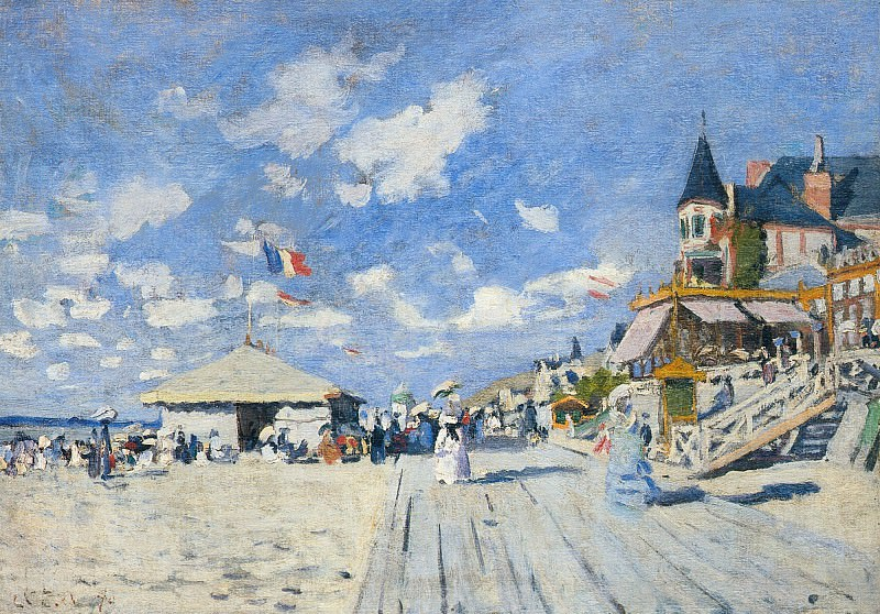 The Boardwalk on the Beach at Trouville. Claude Oscar Monet