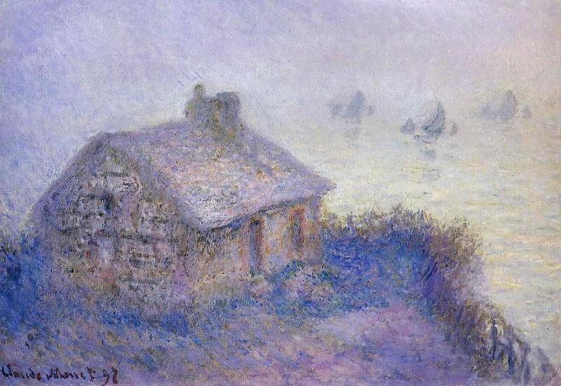 Customs House at Varengeville in the Fog. Claude Oscar Monet