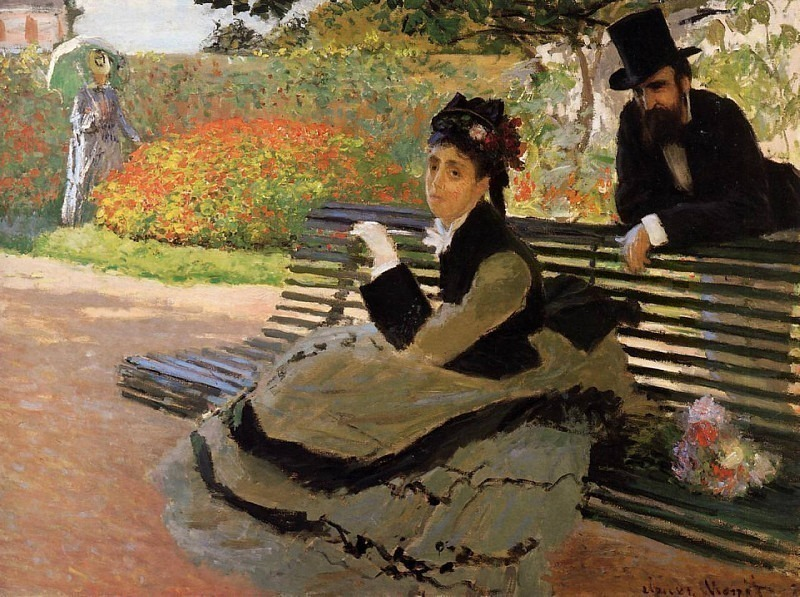 Camille Monet on a Garden Bench. Claude Oscar Monet
