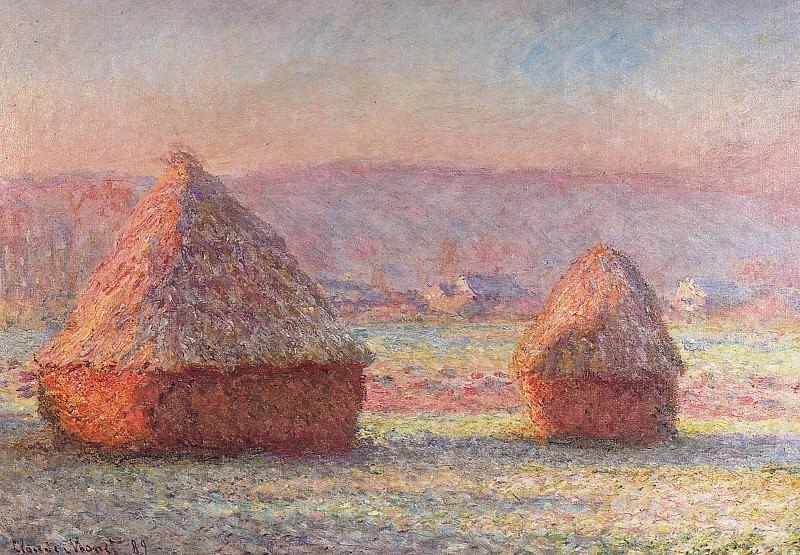 Haystacks - White Frost, Sunrise. Claude Oscar Monet
