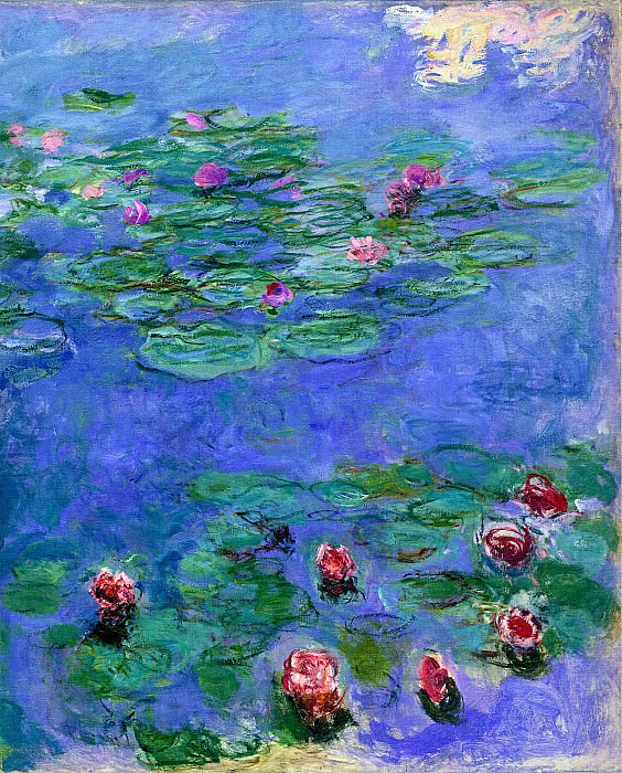 Water Lilies Red. Claude Oscar Monet